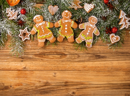 christmas gingerbread: Christmas still life with traditional gingerbread cookies on wood Stock Photo