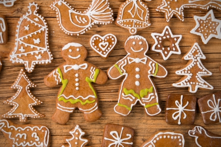 Christmas still life with traditional gingerbread cookies on wood Stock Photo