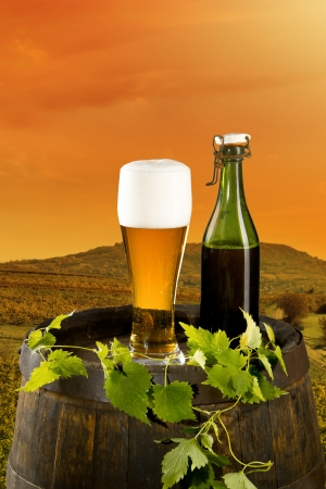 Beer keg with glass of beer on rural countryside  photo