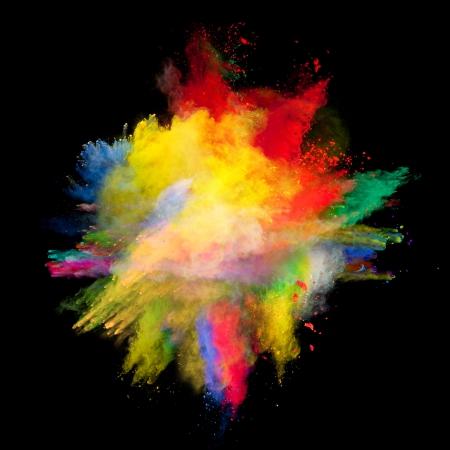 Mouvement Freeze d'explosion de poussière de couleur isolée sur fond noir Banque d'images - 23385309