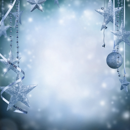 christmas decorations: Christmas decoration on blur blue background Stock Photo