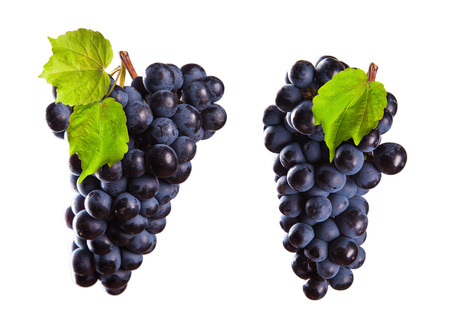 Two pieces of red wine grapes on white background