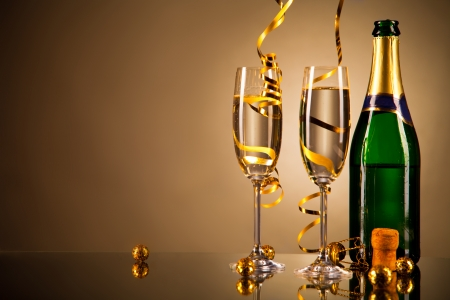 Glasses of champagne with ribbons photo