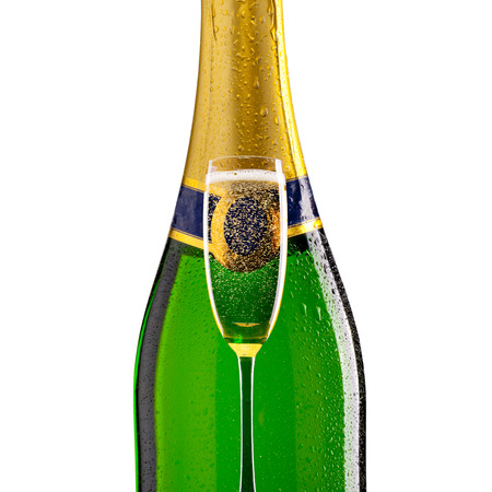 popping cork: Bottle of champagne with glass on white background