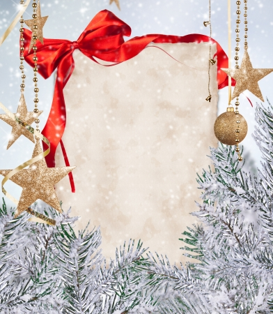 Christmas celebration theme with blank paper for text photo