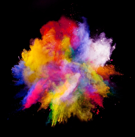 Freeze motion of colored dust explosion isolated on black background 免版税图像