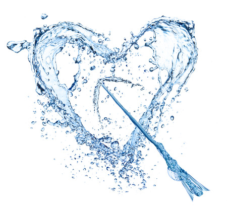 Water splash heart, isolated on white background photo
