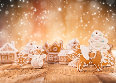 Macro photo of gingerbread village abstract blur background photo