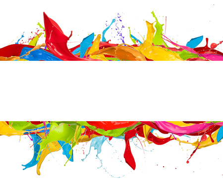 color 3d: Paint splashes frame isolated on white background