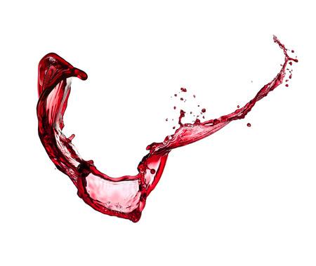 Isolated shot of red wine splash on white