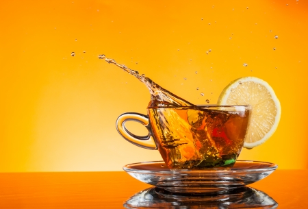 warm drink: Cup of tea on glass