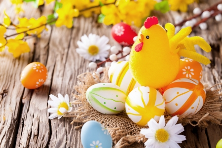 Easter still life with traditional decorative colored eggs in nest Reklamní fotografie