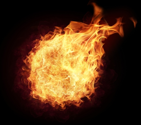 Fire ball with free space for text isolated on black background