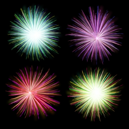Isolated shots of fireworks blasts on black background photo