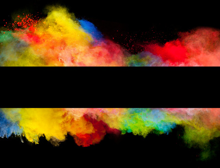 Freeze motion of colored dust explosion in stripe shape, isolated on black background photo
