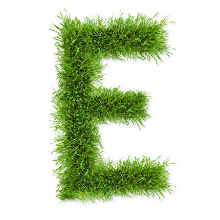 letter e: Fresh grass letter  E  isolated on white background Stock Photo