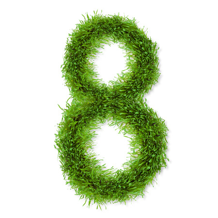 Fresh grass number  8  isolated on white background photo