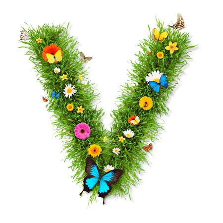 letter v: Spring letter Stock Photo