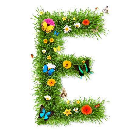 letter e: Spring alphabet letter Stock Photo