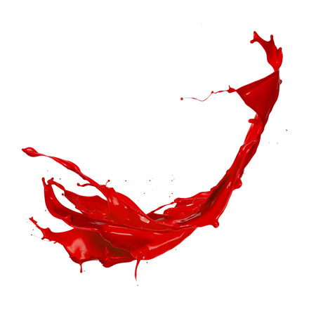 splatter paint: Red paint splash, isolated on white  Stock Photo