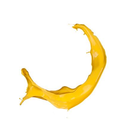 Yellow splash on white background photo