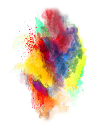 Colored powder on white Banque d'images