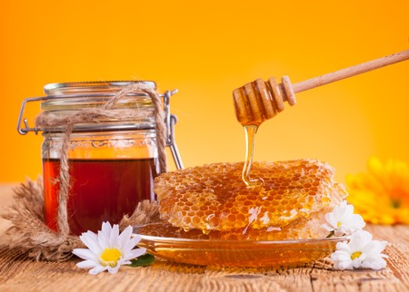Honey still life Stock Photo