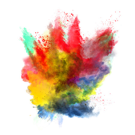 Freeze motion of colored dust explosion isolated on white