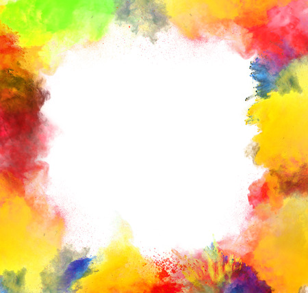 Freeze motion of colored dust explosion isolated on white  photo
