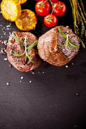 black pepper: Beef steaks Stock Photo