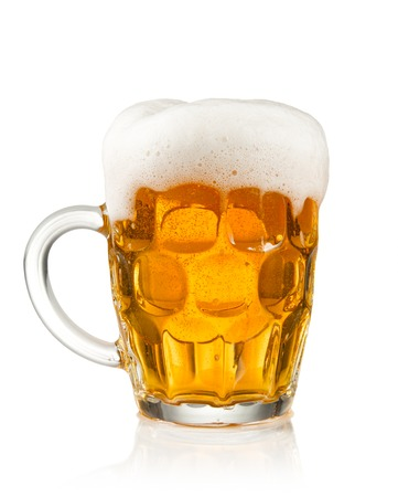 Glass of beer with fume, isolated on white background photo