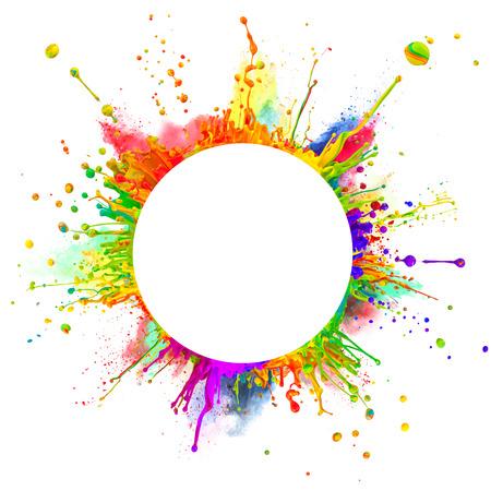 color paint: Colpo Super macro di spruzzi di vernice colorata e balli polvere su onde sonore In forma arrotondata con spazio libero per il testo isolato su sfondo bianco Archivio Fotografico