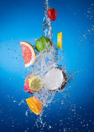 Fruit in splahes