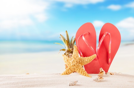 Summer concept with sandy beach, shells and red sandals Stock Photo - 28220302