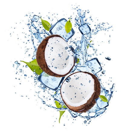 solid food: Ice coconuts isolated on white background Stock Photo