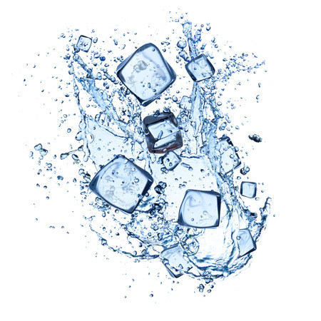 ice water: ice cubes with water splashes isolated on white background Stock Photo
