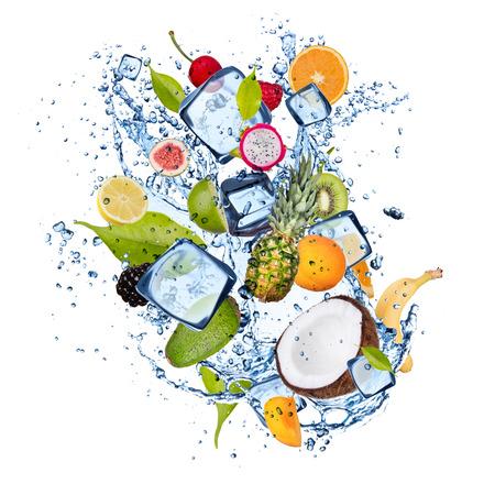 Ice fruit isolated on white background photo