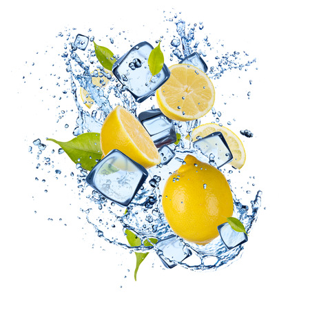 Ice lemons isolated on white background Stock Photo