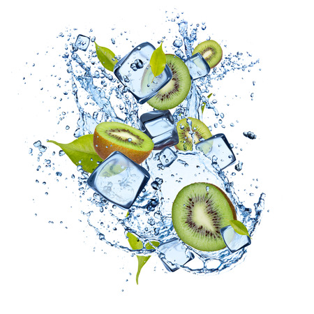 Ice kiwi isolated on white background photo