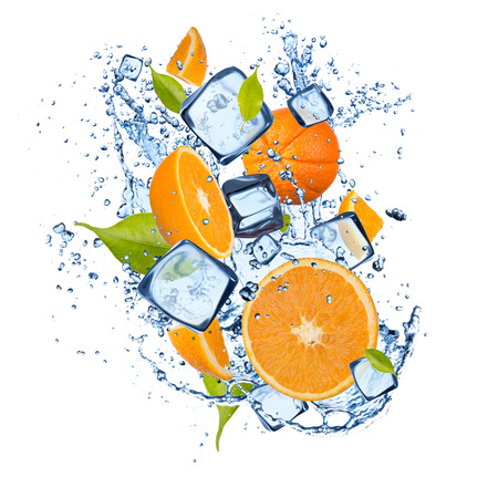 Ice oranges isolated on white background Stock Photo