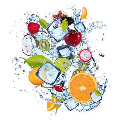 frozen drink: Ice fruit isolated on white background