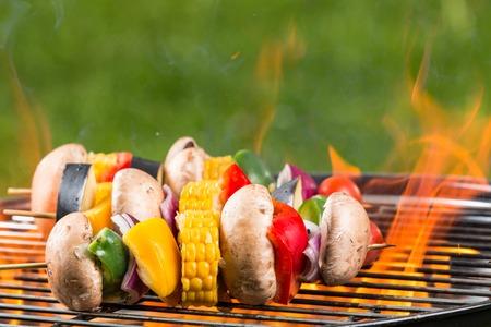 coals: Delicious grilled vegetarian skewers on burning coals