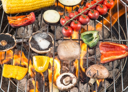 coals: Delicious grilled vegetable on burning coals
