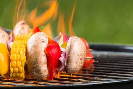 coals: Delicious grilled vegetarian skewers on burning coals