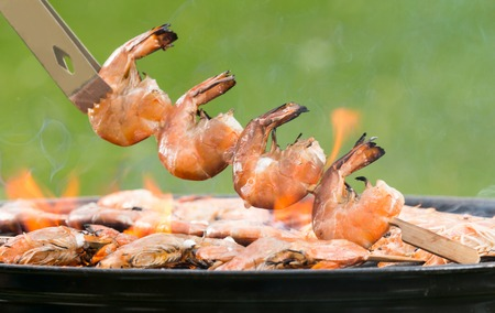 prawn skewers: Delicious grilled prawns on burning coals
