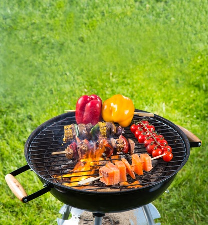 shishkabab: Meat and vegetable on barbecue grill with fire Stock Photo