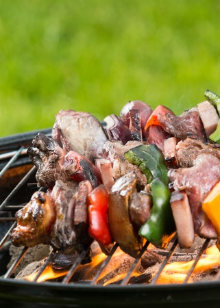 staycation: Meat and vegetable skewer on barbecue grill with fire