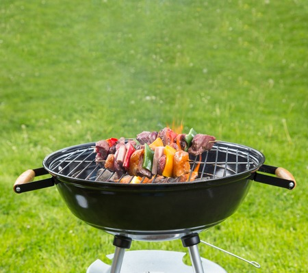 bbq chicken: Meat and vegetable skewer on barbecue grill with fire