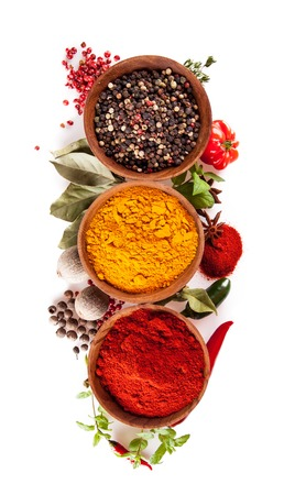 black pepper: Studio shot of isolated spices on white