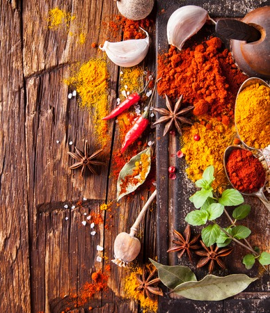 turkish people: Various kinds of spices on wooden planks Stock Photo